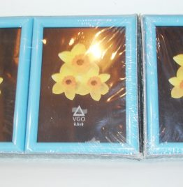 3 portaretratos pequeños para fotos de 6.5 x 9 marco celeste