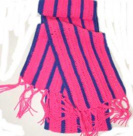 bufanda de lana fucsia y azul 18cm ancho x 2.05m