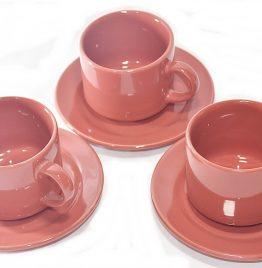3 juegos taza y plato biona color coral