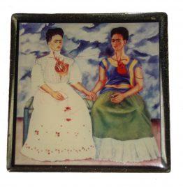 2 Pastilleros Frida Kahlo 5.5x5.5x2 art usado