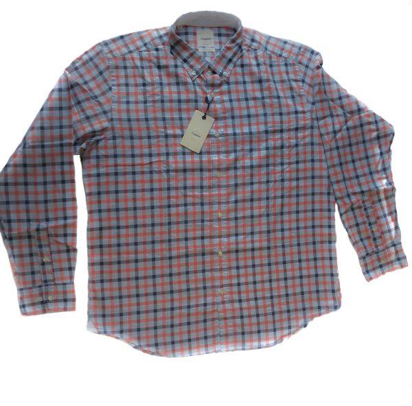 Camisa Scappino a cuadros azul ,naranja celeste T/XL nueva