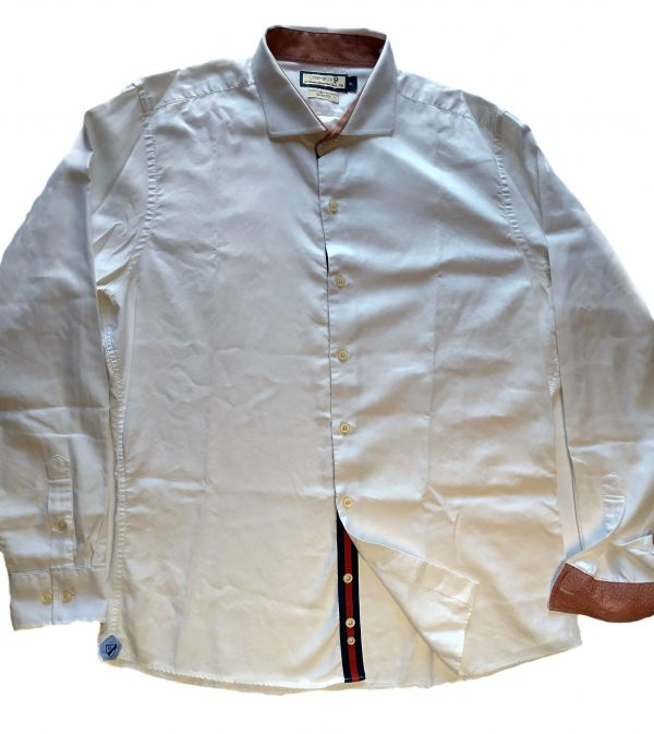 Camisa cremieux blanca puños y tirilla tela liberty T/XL entallada usada